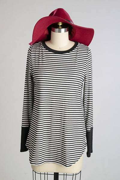 Black and White  Striped Button Top