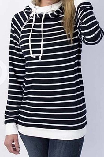 Black and White Striped Double Hoodie