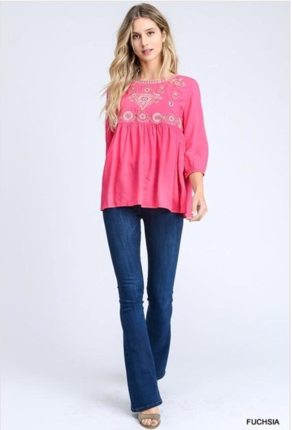 Fuchsia embroidered Top
