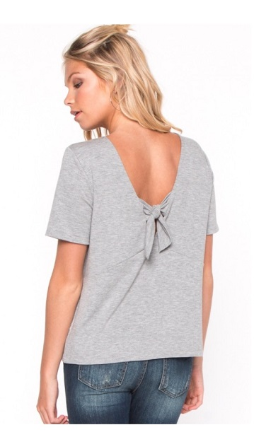 Gizelle Grey Bow Back Top