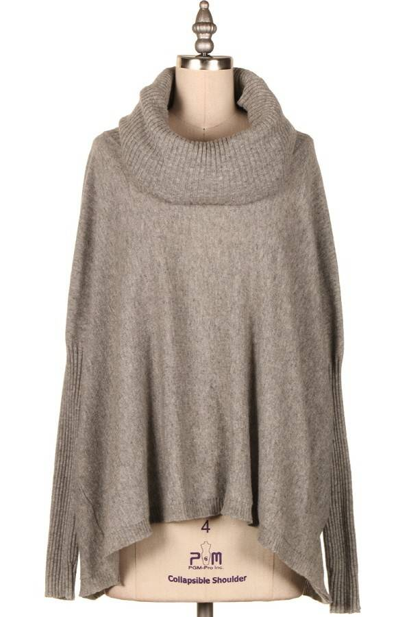 GREY COWL NECK HIGH-LOW KNIT SWEATER