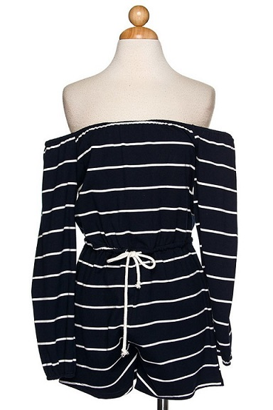 Navy Blue & Striped for You Romper