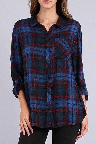Natalie Navy Plaid Shirt