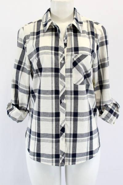 White and Navy Plaid Flannel Shirt