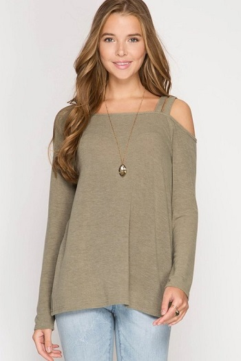 Olivia Olive Double Strap Top