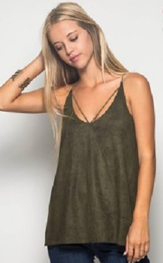Olive Suede Cutout Tank